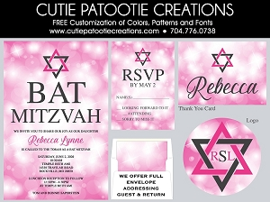 Pink Sparkling Bokeh Bat Mitzvah Invitations - Custom Colors Available