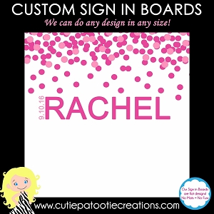 Pink Confetti Bat Mitzvah Sign in Board or Sign in Pillow - Custom Colors Available