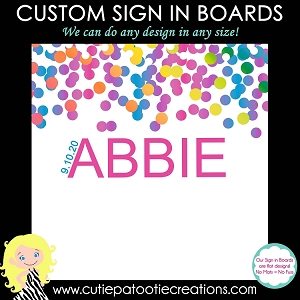 Rainbow Confetti Bat Mitzvah Sign in Board or Sign in Pillow