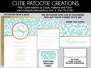 Teal Blue Confetti Gold Foil Bat Mitzvah Invitation - Custom Colors Available