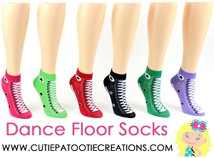 Dance Floor Party Socks -  Converse Sneaker Low Cut Ankle Socks for Bar or Bat Mitzvah