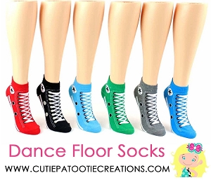 Dance Floor Party Socks - Converse Sneaker Style Sock for Bar and Bat Mitzvah, Wedding and Sweet 16