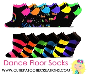 Dance Floor Party Socks -  Bright Neon Stripes and Dots - No Show