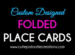 Custom Designed Folded Place Cards Made to Match Your Theme