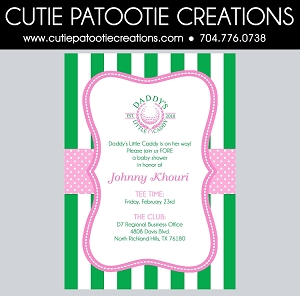 Golf Theme Daddy's Caddy Golf Theme Baby Shower Invitations for Girls