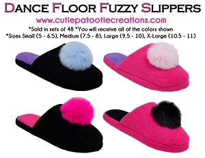 Fuzzy Slippers with Pom Pom - Dance Floor Slippers