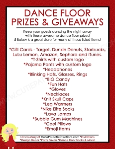 FREE Printable List of Top Dance Floor Prizes and Giveaways for Bar and Bat Mitzvahs