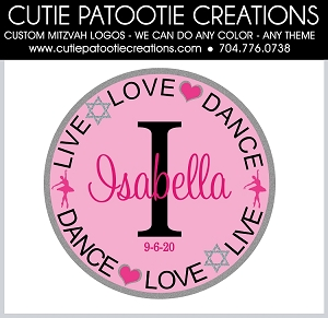 Live Love Dance Bat Mitzvah Logo with Name and Initial - Custom Colors & Themes Available
