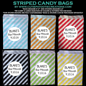 Candy Station Candy Buffet Bags with Diagonal Stripes and Personalized Stickers