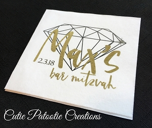 Personalized White Cocktail Napkins with Gold and Black Diamond Logo