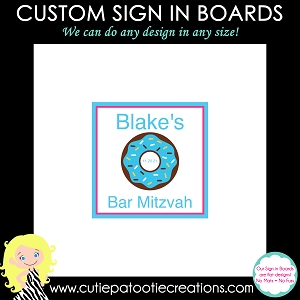Blue Donut Bar or Bat Mitzvah Sign in Board | Custom Colors Available