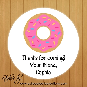 Personalized Donut Stickers - Gift Tags - Gift Stickers - Party Favor Stickers