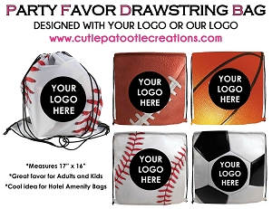 Baseball, Football, Basketball and Soccer Drawstring Bag with Your Logo - MINIMUM 50