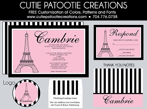 Paris Themed Bat Mitzvah Invitation - Eiffel Tower Paris Bat Mitzvah Invitations - Custom Colors Available