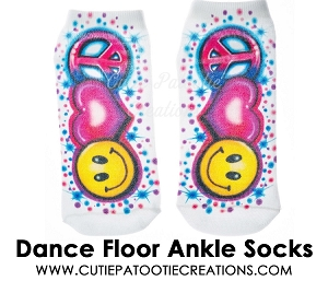 Peace Sign, Heart and Smiley Face Dance Floor Socks for Mitzvahs, Weddings, Sweet 16 - Ankle Socks