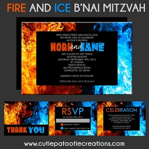 B'Nai Mitzvah Invitations - Fire and Ice