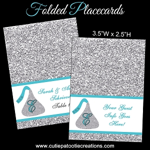 Custom Personalized Candy Kiss Glitter Pattern Place Cards - CUSTOM COLORS AVAILABLE