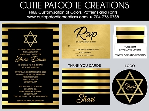 Black and Gold Bat Mitzvah Invitations