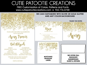 White and Gold Glitter Bat Mitzvah Invitations - Custom Colors Available