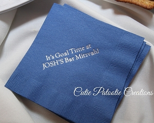Personalized Napkins - Sports Theme Goal Napkins