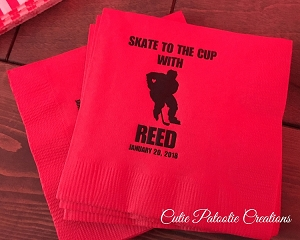 Personalized Napkins - Hockey Player with Stick and Puck