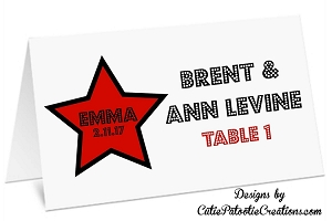 Personalized Hollywood Star Place Cards for Mitzvahs, Sweet 16, Quinceanera & Weddings