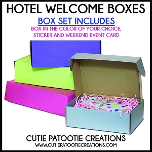 Hotel Welcome Box Gift Sets - Includes Box, Sticker and Weekend Event Card