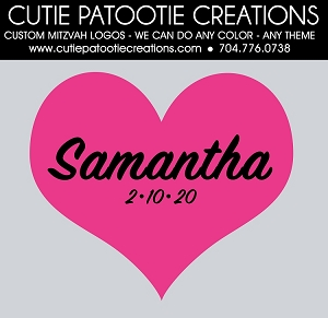 Heart Bat Mitzvah Logo - Custom Colors Available
