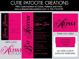 Hot Pink and Black Bat Mitzvah Invitation - Custom Colors Available