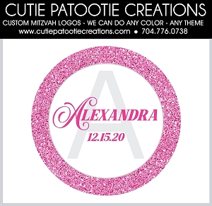 Pink Glitter Monogram Initial Bat Mitzvah Logo - Custom Colors Available