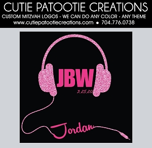 Headphones Bat Mitzvah Logo - Pink and Black - Custom Colors Available