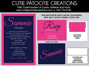 Navy Blue and Hot Pink Bat Mitzvah Invitations - Custom Colors Available