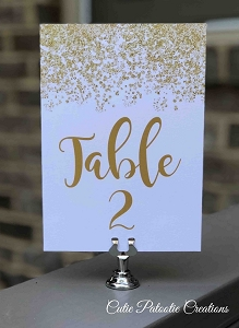 Gold Faux Glitter Table Number Cards