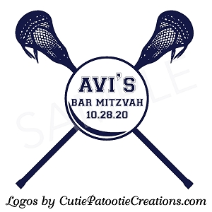 LAX Lacrosse Sticks Bar Mitzvah Logo - Custom Colors Available