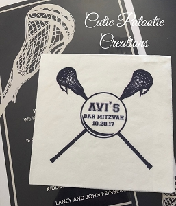 Personalized White Cocktail Napkins with Lacrosse Sticks Logo