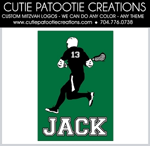 Lacrosse Player Bar Mitzvah Logo - Custom Colors Available