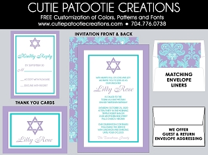 Aqua Teal Blue and Lavender Bat Mitzvah Invitations - Custom Colors Available