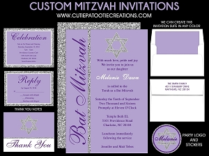 Lilac Purple Bat Mitzvah Invitations with Silver Jewish Star - Custom Colors Available