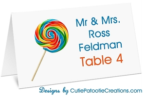 Swirly Whirly Lollipop Candy Themed Place Cards