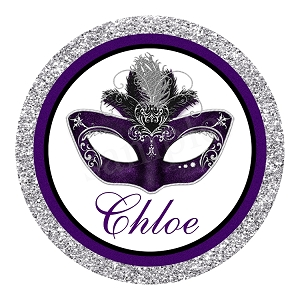 Purple and Silver Glitter Masquerade Mask Bat Mitzvah Logo
