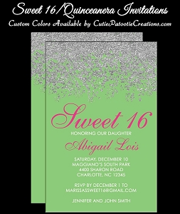 Green and Pink Quinceanera Invitations - Sweet 16 Invitations - Bat Mitzvah Invitations