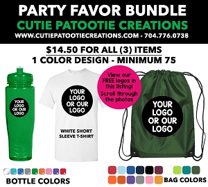 Party Favor Bundles - T-Shirt, Water Bottle and Drawstring Bag - Pick your Color - MINIMUM 100