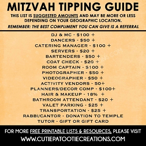 Tipping Tips and Suggestions for Bar and Bat Mitzvahs - FREE Printable Checklist