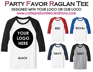 Raglan Tee Party Favor Giveaway Bar and Bat Mitzvahs - CONTACT US FOR PRICING - Minimum 50