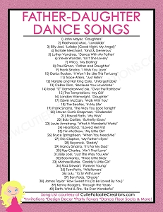 FREE Printable List of Top 40 Father Daughter Dance Songs for Bat Mitzvah and Weddings