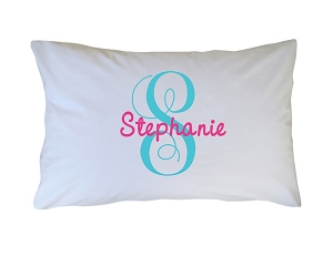 Personalized Monogrammed Initial and Name Pillow Case for Kids, Adults and Toddlers