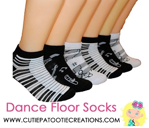 Dance Floor Party Socks - Musical Notes Theme for Mitzvahs, Sweet 16 or Wedding