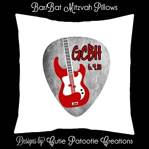 Rock and Roll Guitar Pick Bar Mitzvah Sign in Board or Sign in Pillow