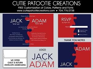 Red and Navy Blue Jigsaw Puzzle B'nai Mitzvah Invitation - Custom Colors Available