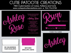 Hot Pink and Black Bat Mitzvah Invitations - Custom Colors Available
